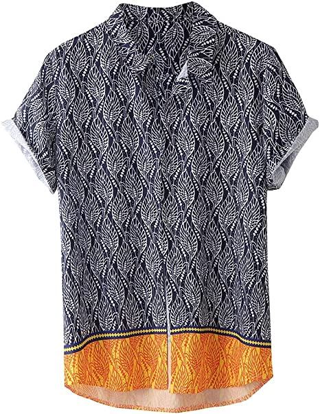LLonGao Herren Hemd Männer Shirt Hawaiihemd Kurzarm Blumen