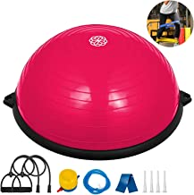 Macticy 23 inches Yoga Half Ball Dome Balance Trainer Fitness Strength Exercise Workout with Pump and Resistance Band