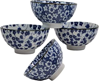 Ebros Gift Made in Japan Ming Style Blue White Floral Design 12oz Rice Soup Cereal Porcelain Bowls Set of 4 Home Decor Zen Fusion Asian Living Accent Housewarming Birthday Gifts Bowl Set