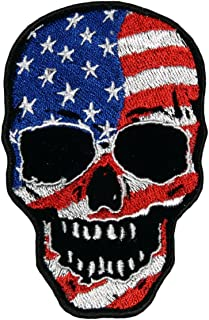 Hot Leathers, AMERICAN FLAG SKULL, Exceptional Quality Iron-On / Saw-On, Heat Sealed Backing Rayon PATCH - 3