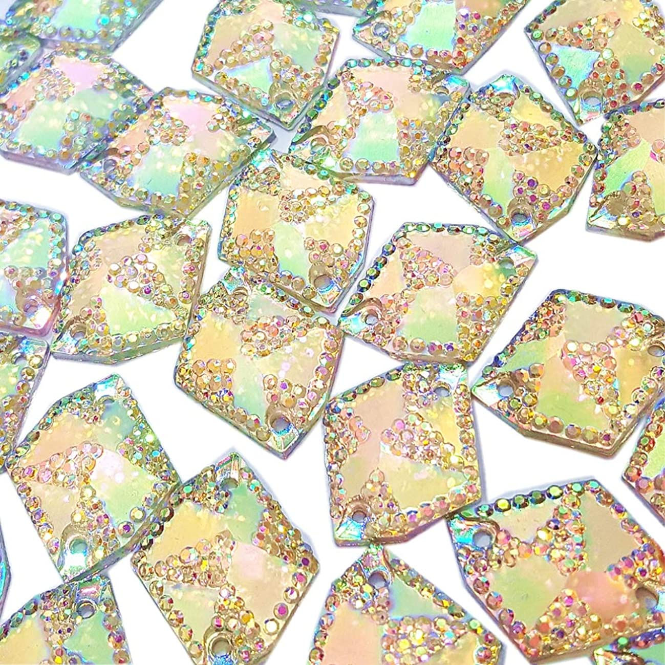 60pcs Cosmic Shape Sew On Rhinestones for Clothes Garment Shoes Accessories,Flatback All- Star Gems Sewing Resin Stone Beads 2 Holes (AB, 17x21mm)