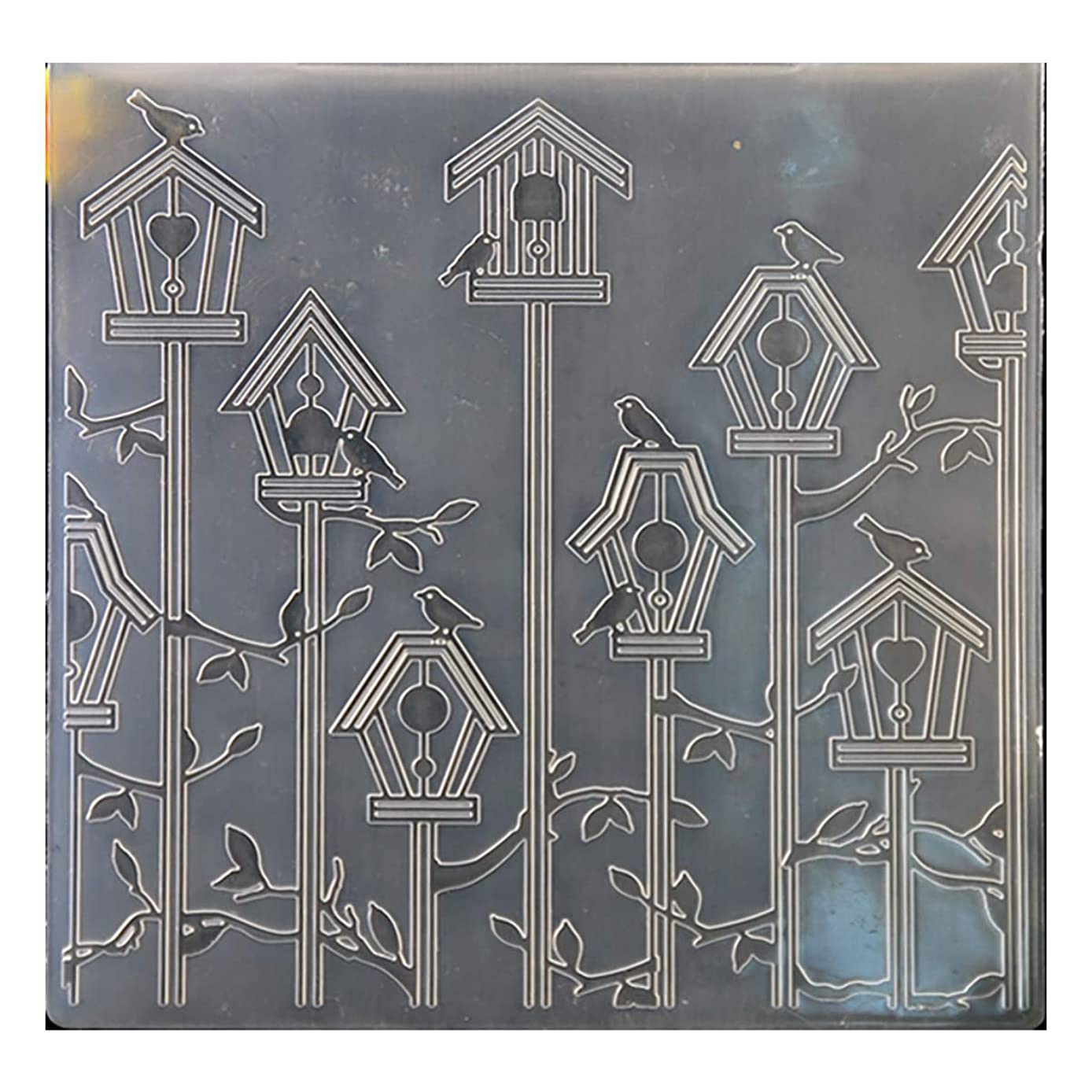 Kwan Crafts Birdcage Bird Plastic Embossing Folders for Card Making Scrapbooking and Other Paper Crafts, 15x15cm