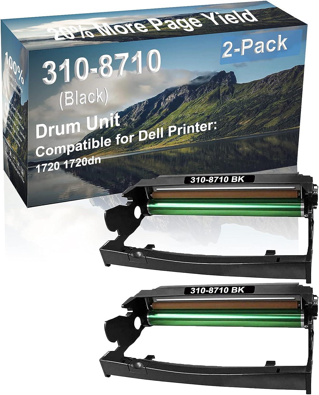 2-Pack (Black) Compatible 1720 1720dn Printer Drum Unit Replacement for Dell 310-8710 Drum Kit