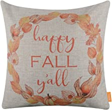 LINKWELL Throw Pillow Cover Happy Fall Day Season Seasonal Gifts Burlap Decorative Cushion Cover 18x18 inches - Happy Fall Y'all CC1549