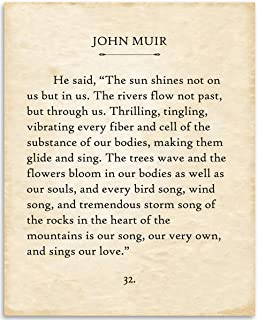 John Muir - The Sun Shines Not On Us - 11x14 Unframed Typography Book Page Print - Great Inspirational and Motivational Gift and Home and Office Decor Under $15