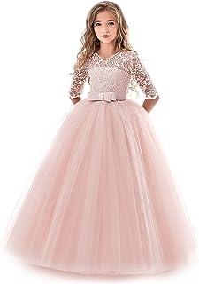 07274160a402c NNJXD Filles Pageant Broderie Robe de Bal Princesse Robe de mariée