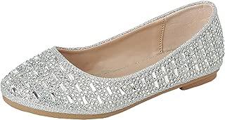 Women's Embellished Studded Rhinestone Crystal Slip On Ballet Flat