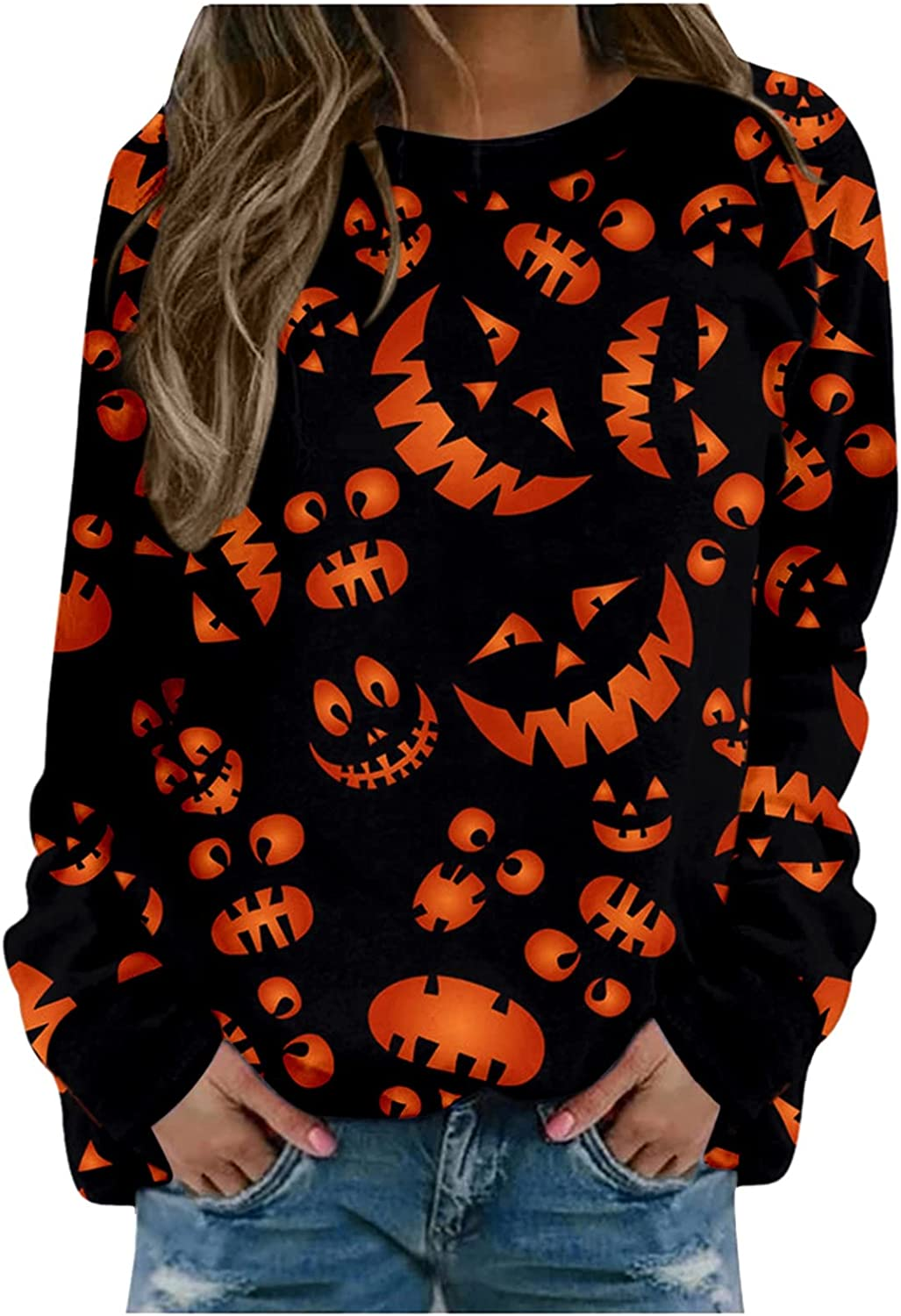 Halloween Sweatshirts for Women,Fashion Print Costumes Long Sleeve Comfy Pullover Tops Crewneck Sweater Blouse