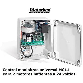 Central cuadro maniobras universal garaje puerta batiente de 1 o 2 hojas 24v - MC11: Amazon.es: Bricolaje y herramientas