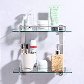 KES Bathroom Lavatory Double Glass Shelf Wall Mount, Rustproof Brushed SUS304 Stainless Steel, BGS2202B-2