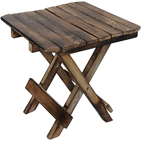 Simran Handicrafts Wooden Foldable Adjustable Side Table/End Table/Coffee Table/Plant Stand/Outdoor Table/Stool 12Inch. (Brown)