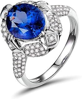 Daesar Anelli di Matrimonio Oro Bianco 18K, Anello di Fidanzamento Anello con Tanzanite 2.66ct Brillante Fiore Ovale Anell...