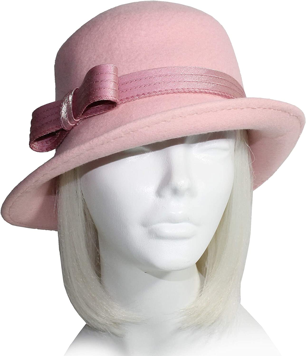 LuxuriouslySoft Felt Bucket Fedora Hat With Turned Up Brim  Q116