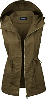 Women's Hooded Utility Pocket Anorak Jacket Vest [S-3XL / 9 Colors] YJV0018-43DKOLIVE-1XL