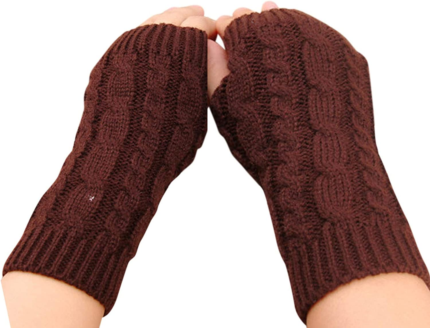 Half Finger Flat Gloves for Women Winter Knitted Stretch Fingerless Keep Warm Mitten Riding Gloves with Mobile Phone