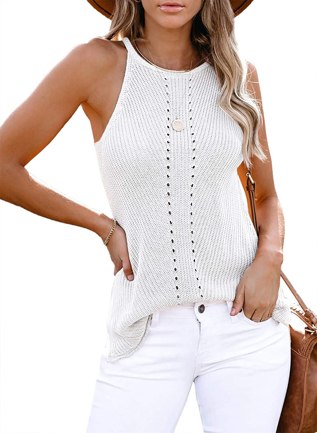Zecilbo Womens Fashion Casual Tanks Summer Sexy V Neck Sleeveless Shirts Color Block Blouses Loose Cute Camis Tops