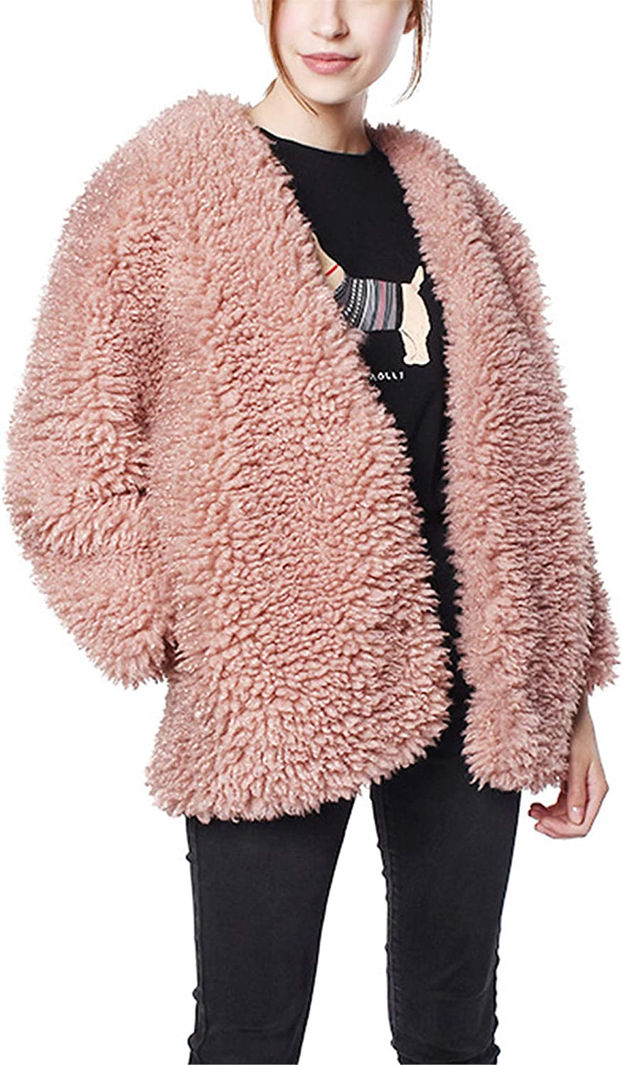 Allonly Women's Fashion Round Collar Faux Fur Long Sleeves Oversize Open Front Warm Winter Coat