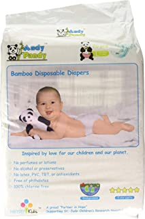 Eco Friendly Premium Bamboo Disposable Diapers by Andy Pandy - Large - for Babies Weighing 20-31 lbs - Large (Pack of 70)