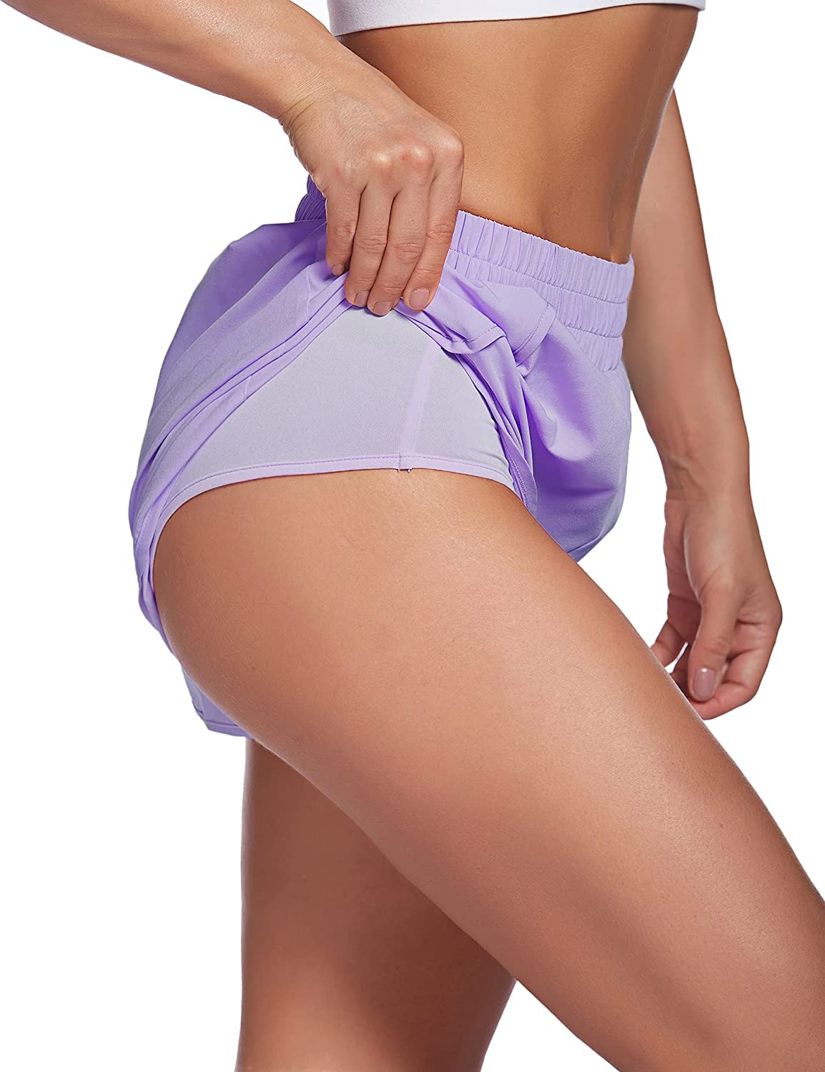LaLaLa Womens Workout Shorts with Zip Pocket Quick-Dry Athletic Shorts Sports Elastic Waist Running Shorts with Liner : Sports & Outdoors