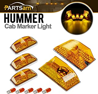 Partsam 5pcs Cab Marker Roof Running Top Lights 264160AM Front Amber Lens Crystal Chrome Waterproof + T10 194 168 W5W 2825 Yellow Halogen Bulbs Compatible with Hummer H2 SUV SUT 2003-2009
