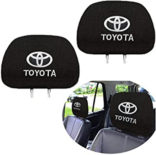Akiyou 2 Pcs Black Comfortable Headrest Covers for Toyota, Customized New Personalized Embroidery Toyota Head Rest Cover, Black Polyester Headrest Covers,Easy to Disassemble and Wash (Black)