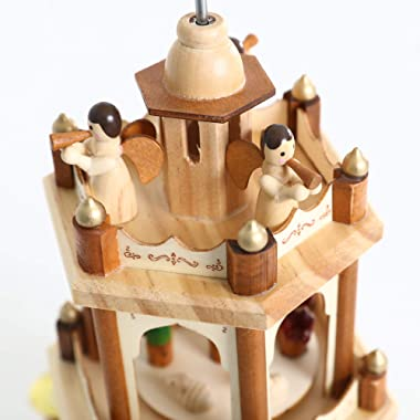 PIONEER-EFFORT 17 Inch Wooden Christmas Pyramid Candle Holders - 3 Tiers - Hand Painted Nativity Figurines - Turning Wings (0