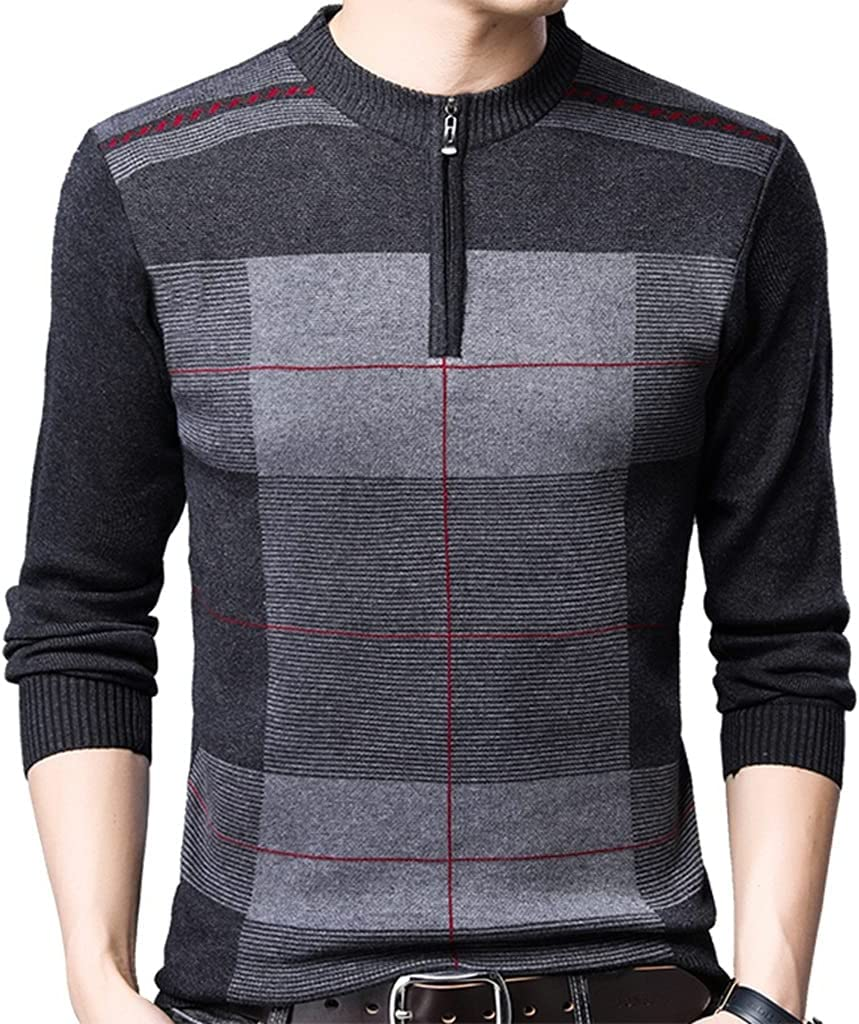 LYYQH Zipper Thick Warm Winter Striped Knitted Pull Sweater Men Wear Jersey Mens Pullover Knit Mens Sweaters Male (Color : Gray, Size : 3XL Code)