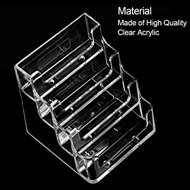 MaxGear Clear Business Card Holder 4 Pocket Business Card Display, Business Card Stand for Desk or Counter with 4 Tier, 160 C