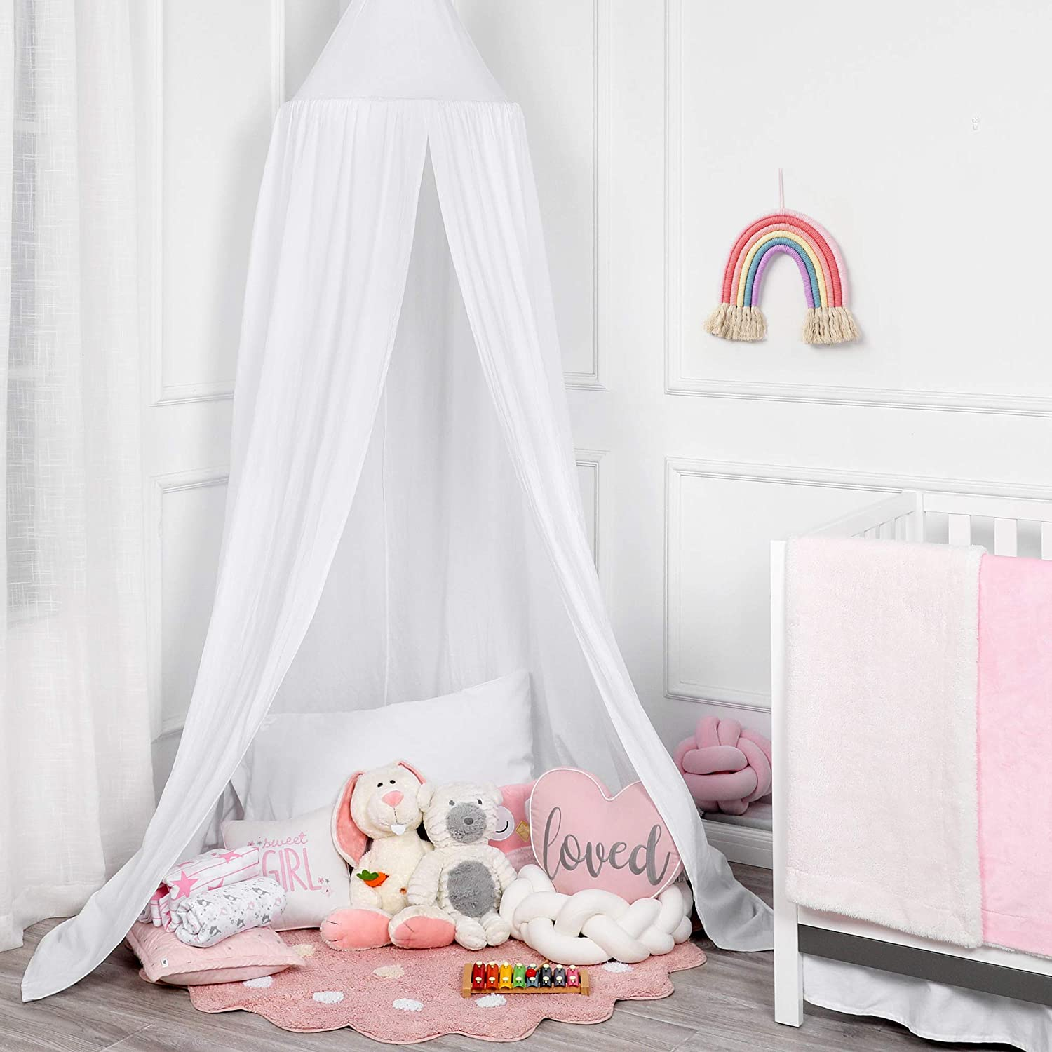 TILLYOU Princess Cotton Collection Nursery Bed Canopy for Girls, Fits Standard/Mini Baby Crib, Toddler Bed, Reading & Playing Nook, Hanging Game Tent for Kids Bedroom, Round Dome Mosquito Net, White
