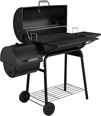 Royal Gourmet CC1830SC Charcoal Grill Offset Smoker with Cover, 801 Square Inches, Black, Outdoor Camping