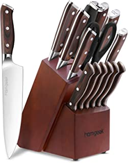 homgeek Ensemble de Couteaux Professionnel, 15 Pièces Couteaux de Cuisine Fabriqué en Acier Inoxydable Allemand 1.4116 Blo...