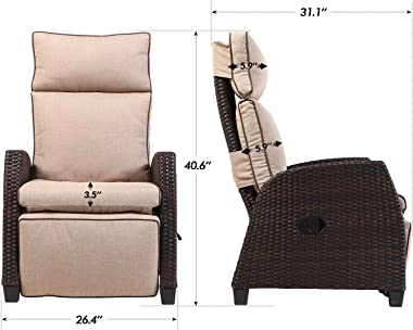 LCH Adjustable Recliner Relaxing Sofa Chair Outdoor Wicker Furniture Aluminum Frame Lounge with Beige Soft Thicken Cushions  