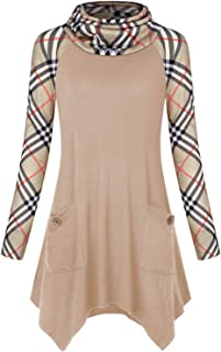 Women's Cowl Neck Asymmetric Hem Tunic Tops with Pockets (FBA Only)