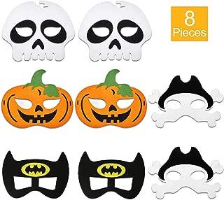 8 Pieces Halloween Felt Mask Bat Skeleton Pumpkin Pirate Felt Mask for Halloween Masquerade Party Costume