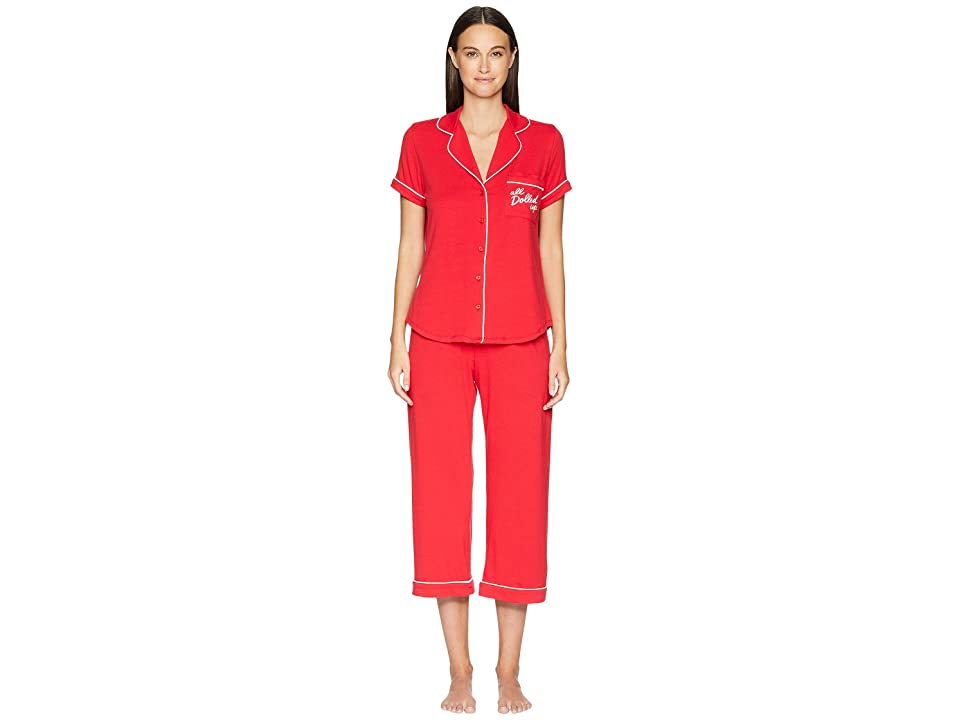 Kate Spade New York All Dolled Up Cropped Pajama Set (Red) Women