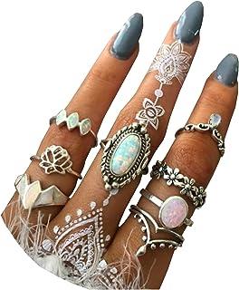 حلقه انگشتر نگین دار 8 عددی زنانه BERYUAN ست حلقه بند انگشتی مشکی ست حلقه ست بند انگشتی مشترک زنانه و دخترانه کریستال نقره ای (1)