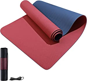 Yoga Mat Non Slip TPE Yoga Mats for Women Men 1/4 1/3 1/2 inch Thick Eco Friendly Fitness Exercise Mat with Carrying Strap Workout Floor Exercises Mats for Home Pilates