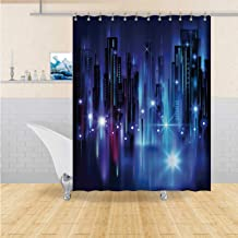 ALUONI Illuminated Night City,Shower Curtains Fabric Shower Curtain Liner USA for Hotel 72X96In
