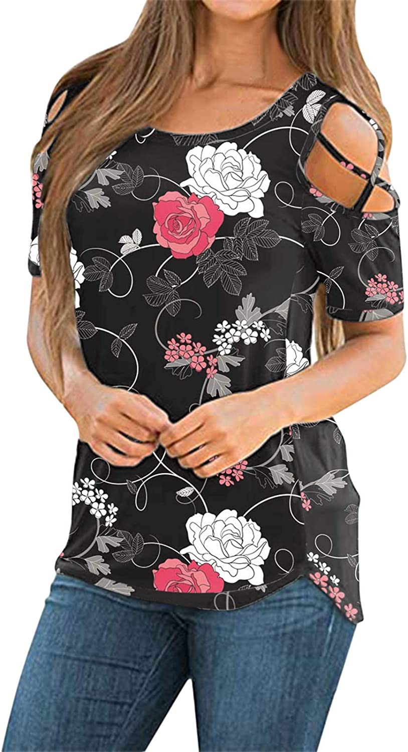 Eduavar Womens Tops,Womens Floral Printed Round Neck Short Sleeve Tshirts Summer Top Strappy Cold Shoulder Tunic Blouses