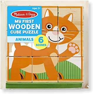 Melissa & Doug My First Wooden Animal Cube Puzzle (9 Pcs) in Tray Puzzle