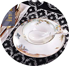 Chinese Style Luxury Porcelain Dinner Plates Creative Ceramic West Lake Hotel Tableware Cutlery Set Decorative Flat Steak Plate,Three-piece set