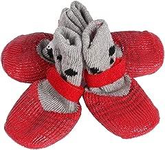 Pssopp 4 x atmungsaktive Hundeschuhe Anti-Rutsch-Socken f/ür Hunde 4 St/ück Baumwollmischung Haustierpfotenschutz f/ür den Innenbereich
