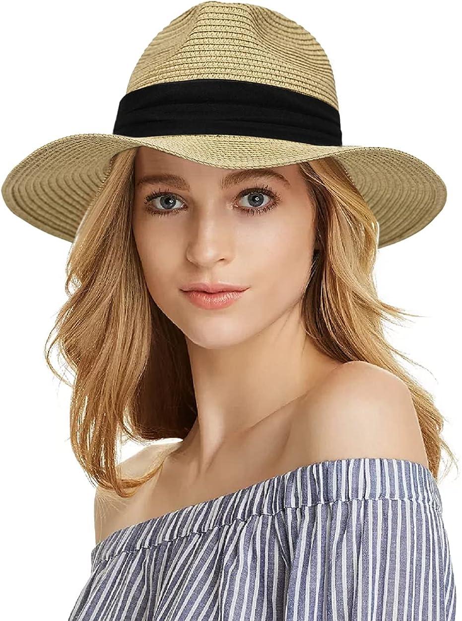 Womens Wide Brim Straw Panama Hat Fedora Summer Beach Sun Hat UPF Straw Hat for Mens - Sun Hat (Floppy Adjustable Medium)