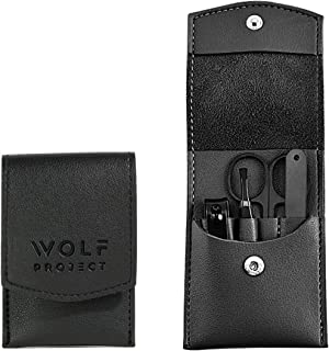 WOLF PROJECT Nail Grooming kit men, Manicure set for men, 4 pieces travel kit, stainless steel nail clippers, fingernails ...