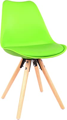 Design Lab MN Viborg Mid Century Modern Dining Chair Natural Base (Set of 2), Green Seat