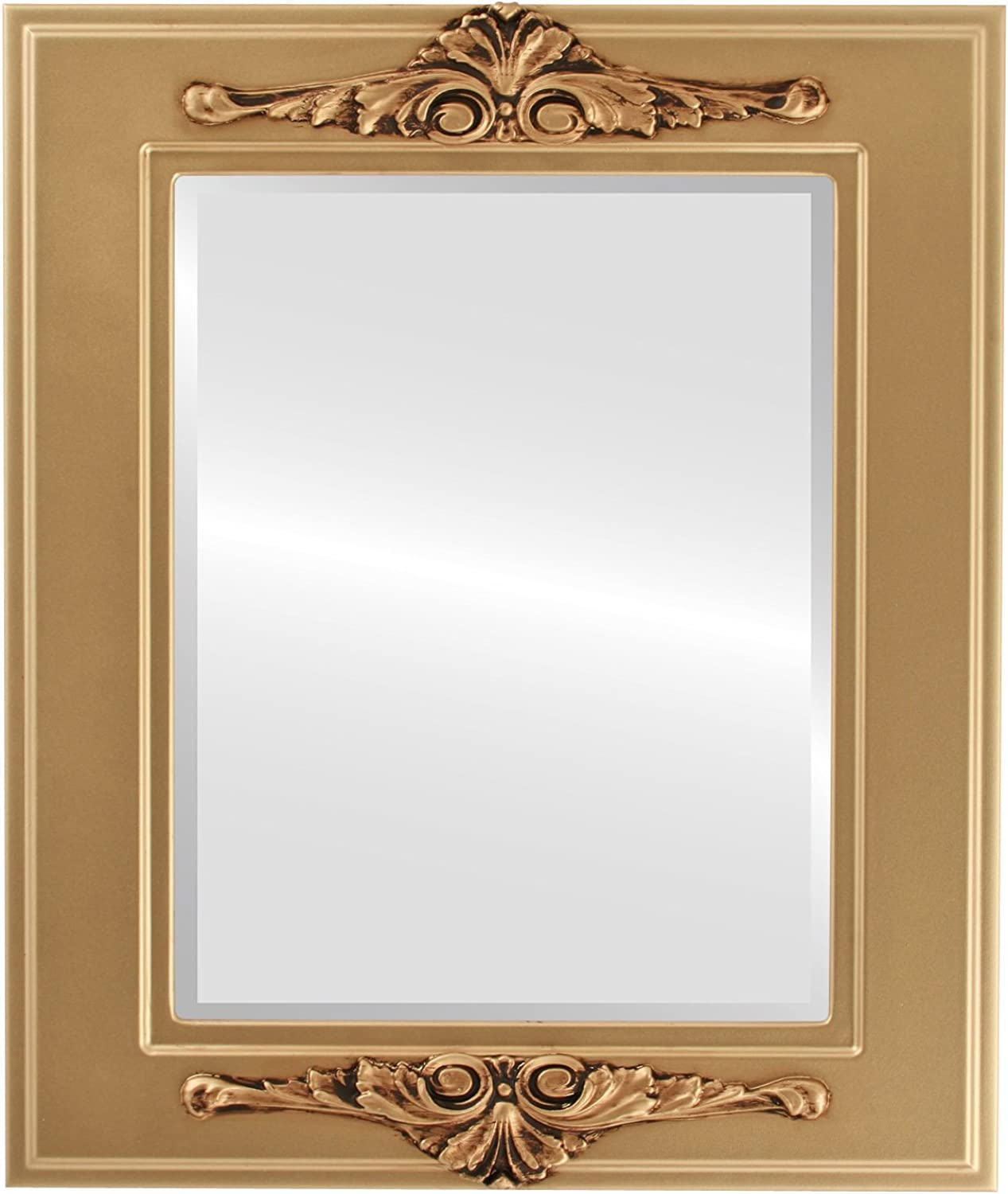 OvalAndRoundMirrors  Rectangle Beveled Mirror in a Ramino style Desert gold frame with 17x21 outside dimensions