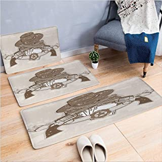 3 Piece Non-Slip Doormat 3D Print for Door mat Living Room Kitchen Absorbent Kitchen mat,with Belt Hat and Playing Cards,15.7
