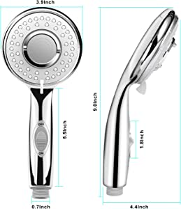 Autobag Shower Head with High Pressure 5 Spray Setting Water Saving Detachable Easy Tool Free Installation Handheld Showerhead Chrome Face For Bathroom