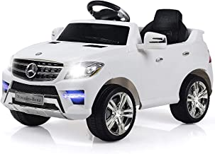 Costzon Ride On Car, Licensed Mercedes Benz ML350 6V Electric 2WD Battery Powered Kids Vehicle, Parental Remote Control & Manual Modes Car with Microphone, Lights, MP3, USB, TF, Music, Horn (White)