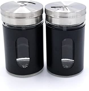 JVLM HOME Premium Glass Salt and Pepper Shakers Dispensers Set with Stainless Steel lids (Black)